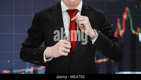 Double exposure businessman tying necktie and raising financial graph. Business growth, investment and stock market - Stock Photo