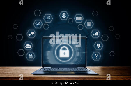 Cyber internet security system. Lock icon technology on computer laptop screen with application icons - Stock Photo