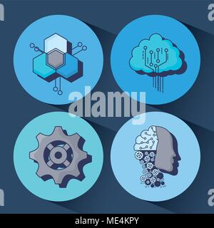 Icon set of Artificial Intelligence concept over colorful circles and blue background, colorful design vector illustration - Stock Photo
