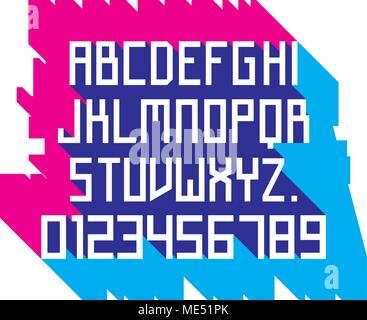 Vector font - simple alphabet in russian constructivism style. Futuristic Font. Alphabet, typeface, typography, typewriter set. Latin alphabet letters - Stock Photo