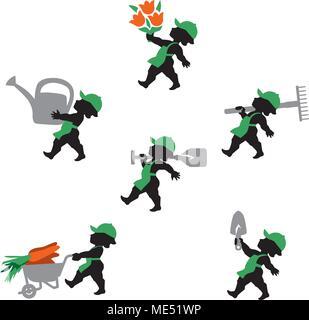 Vector illustration of gardener. Icons set of gardeners professional with gardening tools such watering can, shovel, rake, wheelbarrow. - Stock Photo