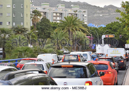 Cars morning traffic congestion in city of Santa Cruz de Tenerife Canary Islands Spain. - Stock Photo