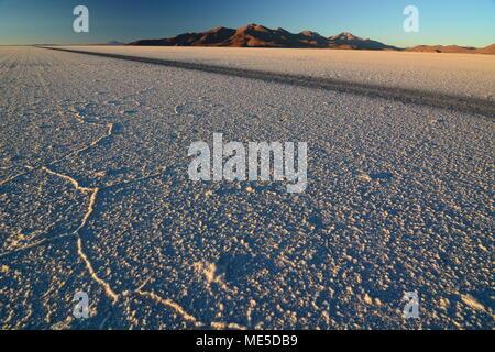 Sunrise at Salar de Uyuni. Bolivia - Stock Photo
