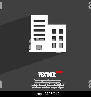 high-rise commercial buildings and residential apartments  icon symbol Flat modern web design with long shadow and space for your text. Vector illustr - Stock Photo
