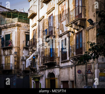 PALERMO-JUNE 10: view of typical buildings in the old town,Palermo,Italy,on June 10,2013. - Stock Photo