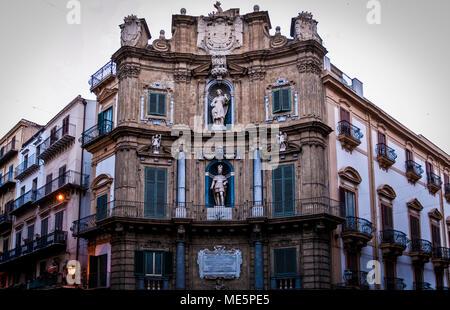 A beautiful building on Quattro Canti square (Vigliena square), Palermo,Italy.2013 - Stock Photo