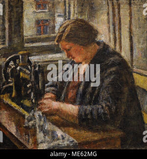 Vladas Eidukevicius (1891-1941). Lithuanian painter. The Seamstress, 1932. National Gallery of Art. Vilnius. Lithuania. - Stock Photo