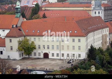 Klovicevi dvori palace housing modern art gallery with exhibitions at Jezuitski trg square Gradec the old town Zagreb Croatia - Stock Photo