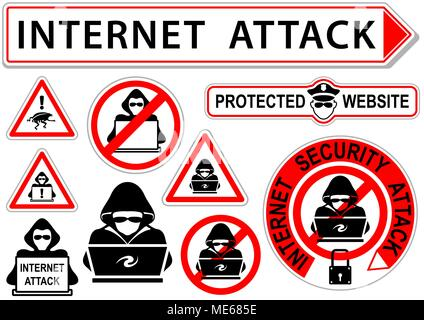 Internet Attack Signs or Icons - Stock Photo