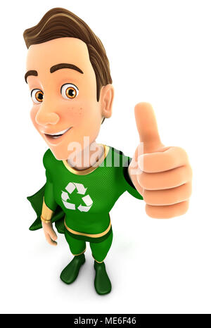 3d green hero positive pose with thumb up, illustration with isolated white background - Stock Photo