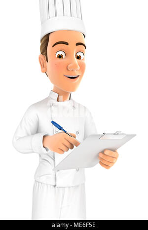 3d head chef writing on notepad, illustration with isolated white background - Stock Photo