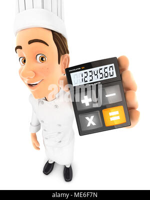 3d head chef holding calculator, illustration with isolated white background - Stock Photo