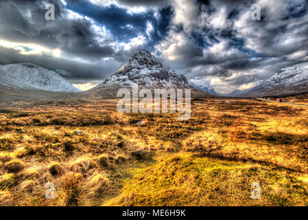 Area of Gen Coe, Scotland. Artistic winter view of Glencoe valley, with Stob nan Cabar on the right of the image and Coire Na Tulaich on the left. - Stock Photo