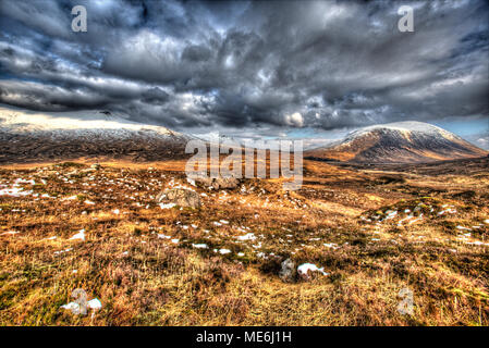 Area of Gen Coe, Scotland. Artistic winter view of Glencoe valley. The hill in the background is possibly Beinn a Chrulaiste. - Stock Photo