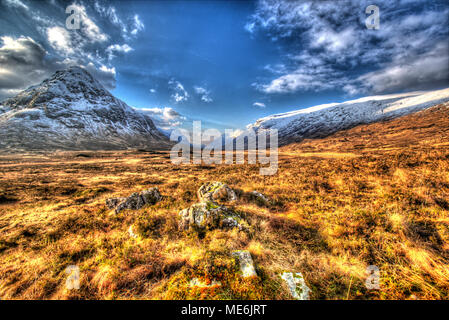 Area of Gen Coe, Scotland. Artistic winter view of Glencoe valley, with Stob nan Cabar on the left of the image. - Stock Photo