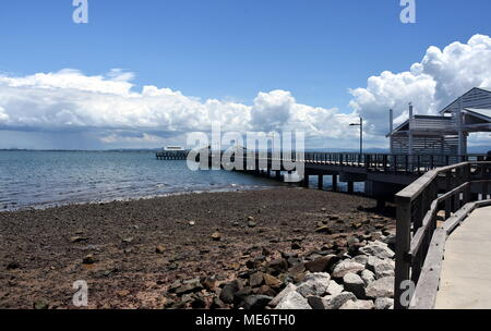 Woody Point Jetty is one of the Moreton Bay Region's most identifiable landmarks, becoming an iconic part of Redcliffe peninsula's landscape since its - Stock Photo