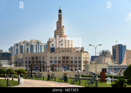 The spiral mosque of the Kassem Darwish Fakhroo Islamic Centre in Doha, Doha, Qatar, Middle East - Stock Photo