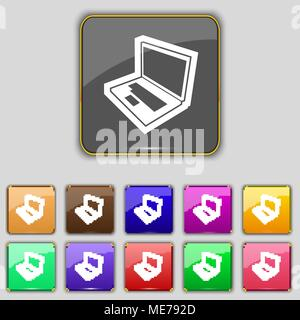 Laptop icon sign. Set with eleven colored buttons for your site. Vector illustration - Stock Photo