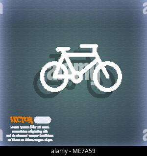 bike icon symbol on the blue-green abstract background with shadow and space for your text. Vector illustration - Stock Photo