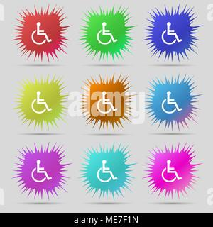 disabled icon sign. A set of nine original needle buttons. Vector illustration - Stock Photo
