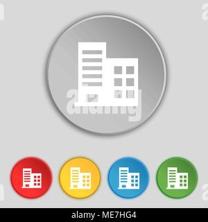 high-rise commercial buildings and residential apartments icon sign. Symbol on five flat buttons. Vector illustration - Stock Photo