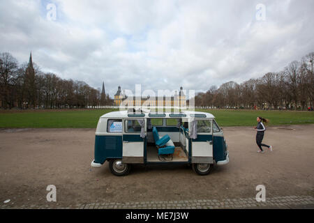 A 1966 model Volkswagen microbus in front of the Bonn University, North Rhine Westphalia, Germany. - Stock Photo