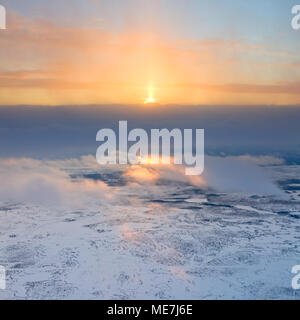 View from above tundra in winter - Stock Photo