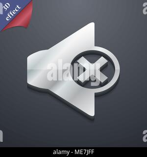 Mute speaker icon symbol. 3D style. Trendy, modern design with space for your text Vector illustration - Stock Photo