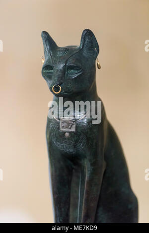 London. England. British Museum, The Gayer-Anderson Cat ca. 600 BC, possibly from Saqqara, Egypt.   The Gayer-Anderson Cat is a hollow-cast bronze fig - Stock Photo