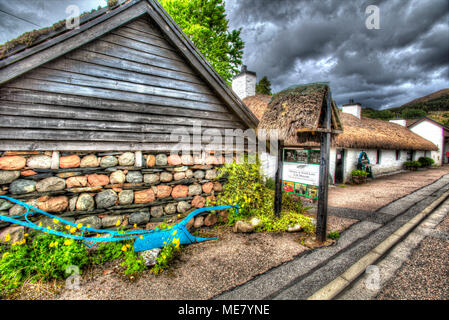 Village of Glencoe, Scotland. Artistic view of the Glencoe and North Lorn Folk Museum, situated in the centre of Glencoe Village. - Stock Photo
