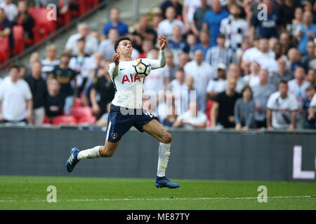 London, UK. 21st April, 2018. Dele Alli of Tottenham Hotspur in action. The Emirates FA Cup semi final match, Manchester Utd v Tottenham Hotspur at Wembley Stadium in London on  Saturday 21st April 2018.  this image may only be used for Editorial purposes. Editorial use only, license required for commercial use. No use in betting, games or a single club/league/player publications. pic by Andrew Orchard/Andrew Orchard sports photography/Alamy Live news - Stock Photo