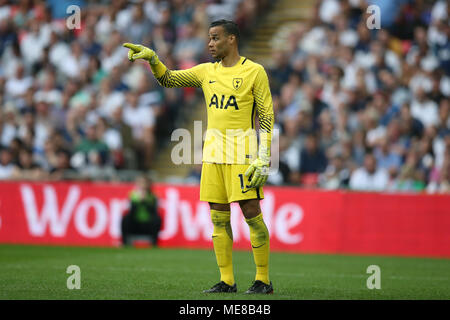 London, UK, 21 April 2018. Michel Vorm, the goalkeeper of Tottenham Hotspur in action.The Emirates FA Cup semi final match, Manchester Utd v Tottenham Hotspur at Wembley Stadium in London on  Saturday 21st April 2018.  this image may only be used for Editorial purposes. Editorial use only, license required for commercial use. No use in betting, games or a single club/league/player publications. pic by Andrew Orchard/Andrew Orchard sports photography/Alamy Live news - Stock Photo