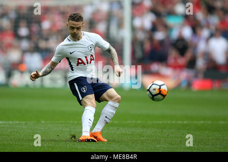 London, UK, 21 April 2018. Kieran Trippier of Tottenham Hotspur in action.The Emirates FA Cup semi final match, Manchester Utd v Tottenham Hotspur at Wembley Stadium in London on  Saturday 21st April 2018.  this image may only be used for Editorial purposes. Editorial use only, license required for commercial use. No use in betting, games or a single club/league/player publications. pic by Andrew Orchard/Andrew Orchard sports photography/Alamy Live news - Stock Photo