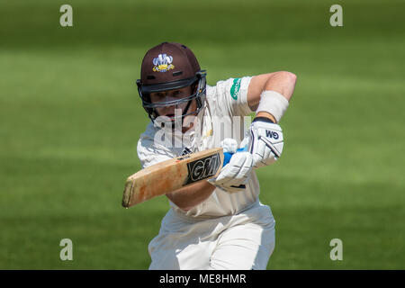 London,UK. 22 April 2018. Ollie Pope batting for Surrey against Hampshire on day  three of the Specsavers County Championship game at the Oval. David Rowe/Alamy Live News - Stock Photo