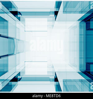 Blue transparent 3d rendering - Stock Photo