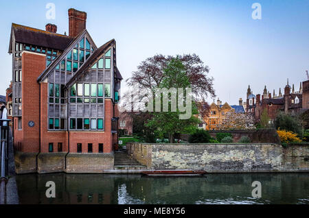 Trinity Hall College, University of Cambridge, from the river, showing the award winning Jerwood Library (1998). Trinity Hall was founded in 1350. - Stock Photo