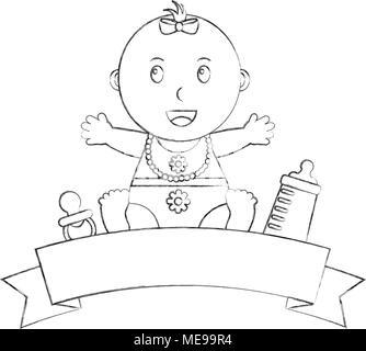 cute little baby girl sitting bottle milk pacifier emblem - Stock Photo