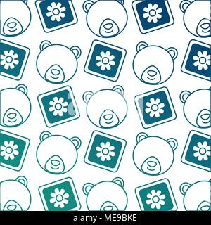 ... Baby Shower Head Bear Teddy And Blocks Decoration Pattern   Stock Photo