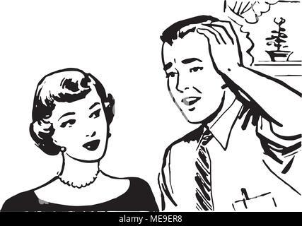 Dismayed Man - Retro Clipart Illustration