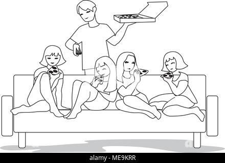 Vector Illustration from friends watching tv and eating pizza in living room. - Stock Photo
