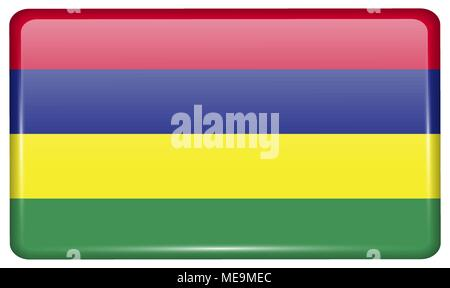 Flags of Mauritius in the form of a magnet on refrigerator with reflections light. Vector illustration - Stock Photo