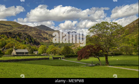 A view of St. Mary's Church,Beddgelert,Gwynedd,Snowdonia National Park, with mountains in the background