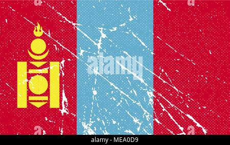 Flag of Mongolia with old texture. Vector illustration - Stock Photo