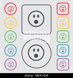 Shocked Face Smiley icon sign. symbol on the Round and square buttons with frame. Vector illustration - Stock Photo