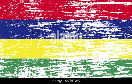 Flag of Mauritius with old texture. Vector illustration - Stock Photo