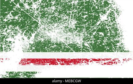 Flag of Chechen Republic of Ichkeria with old texture. Vector illustration - Stock Photo