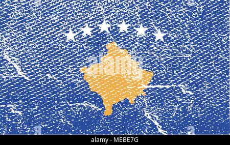 Flag of Kosovo with old texture. Vector illustration - Stock Photo