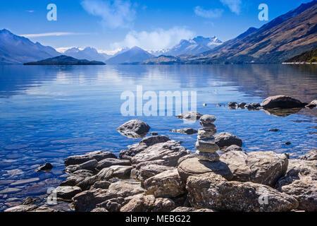Lake Wakatipu leads to Mt. Aspiring National Park, South Island, New Zealand. - Stock Photo