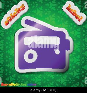 Retro Radio  icon sign. Symbol chic colored sticky label on green background. Vector illustration - Stock Photo