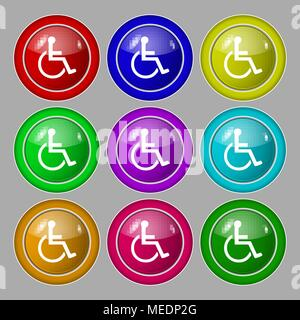 disabled icon sign. symbol on nine round colourful buttons. Vector illustration - Stock Photo